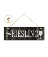 """RIESLING Wine Sign, Dark Rustic Wood Style, 5.5"""" x 17"""" Sign, Wine Bar - $22.77"""