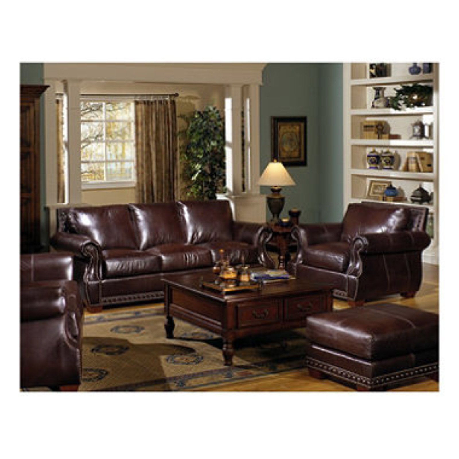 Chesterfield Set 4 Pc Livingroom Furniture Set New Leather Couch Set Sofas Loveseats