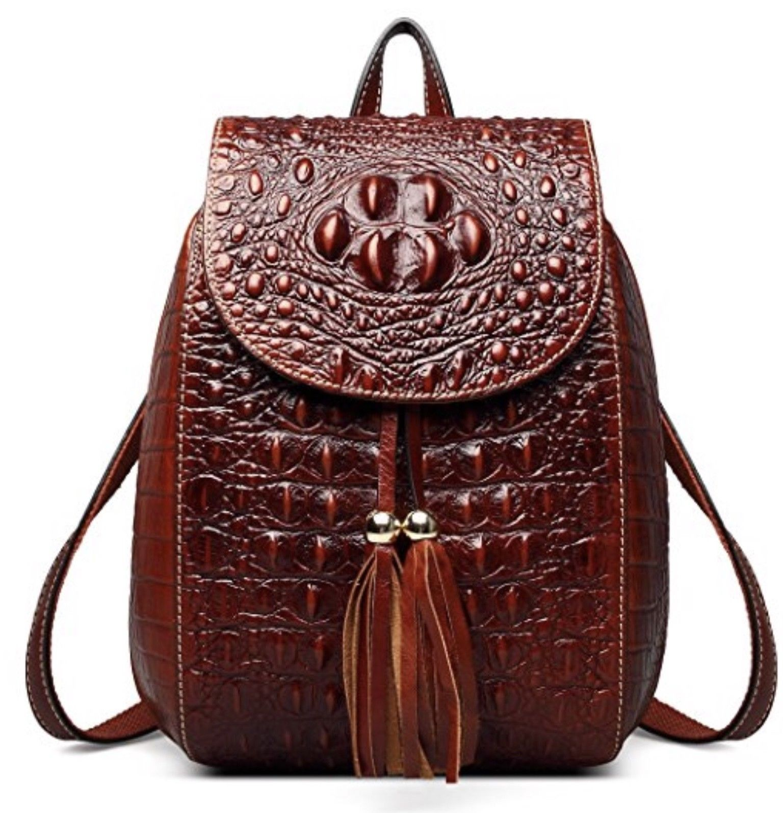 New Italian Leather Crocodile Embossed Backpack Shoulder Bag