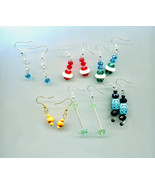 bead drop dangle earrings 6 pairs wholesale lot wood glass plastic beads... - $6.99