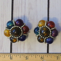 vintage large round multicolor lucite flower clip earrings floral - $9.89
