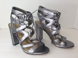 Sam Edelman Yardley Sz 6 Metallic Silver Leather Strappy Sandals Heels Shoes - $51.97