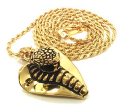 """Han Cholo Gold Plated Cobra Lover Pendant with 24"""" Chain"""