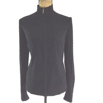 Talbots size 8 Medium black sueded cable knit sleeve zip front mock neck jacket - $18.76