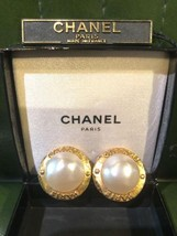 Authentic CHANEL Vintage Pearl Gold Logo Clip on Earrings Coco HCE078 - $447.28