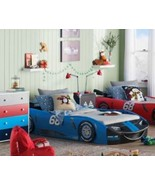 Kids Twin Bed Sports Race Car Nascar Toddler Turbo Twin Bed Blue wheels ... - $279.98