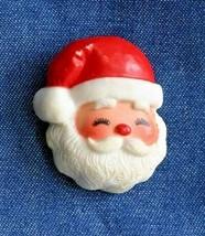 "Hallmark Jolly Santa Claus Christmas Brooch 1980s vintage 1 3/4"" - $12.30"