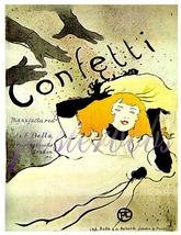 """Toulouse Lautrec """"Confetti"""" Vintage 13 x 10 inch Giclee CANVAS Art Print - $19.95"""