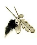 NP62 Black Feather Cz Leaf Sweater Pendant Necklace  - $11.99