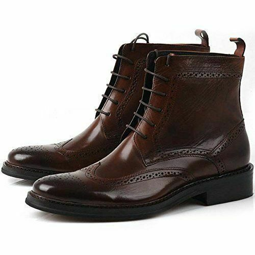 Men's New Ankle High Brouging Wing Tip Handmade Leather Premium Quality Boots - $159.99
