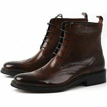 Men's New Ankle High Brouging Wing Tip Handmade Leather Premium Quality ... - $159.99