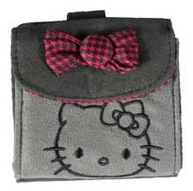 "4"" Sanrio Hello Kitty Grey Micro Suede Flap Wallet Magenta Houndstooth Bow NWT"