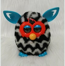 Hasbro Furby Boom Black White Teal Zig Zag Zebra Interactive Toy 2012 - $19.99