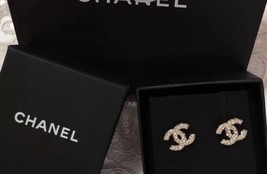 Authentic Chanel Classic CC Logo Crystal Pearl GOLD Stud Earrings  image 1