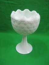 Vintage White Milk Thick Glass Candy Dish Bowl on Pedestal Intricate Det... - $12.16