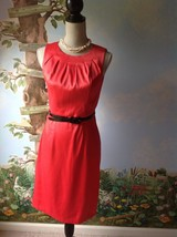 Dressbarn  Coral Women Satin Dress Sleeve Size 4  - $28.71