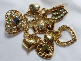 GOLD TONE AURORA BOREALIS CRYSTAL CHARMS HEART LOCK KEY PIN BROOCH PENDANT - $31.68