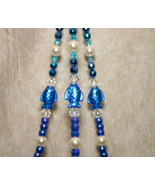 Handcrafted Blue Beaded Plant Basket Pot Hanger #1 for Patio - $17.98