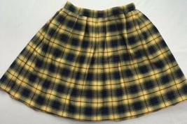 Vintage Bonnie Jean Plaid Skirt Sz 5 Yellow Blacknred Pleated Mini Skirt - £17.36 GBP