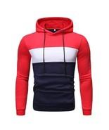 Men Zip Half Color Block Hoodie Fleece Mattar Hooded Retro Track Jacket - $29.07