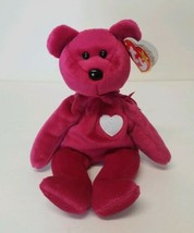 """Ty Beanie Baby """"Valentina"""" Pink Bear with White Heart on Chest with Tags - $12.55"""