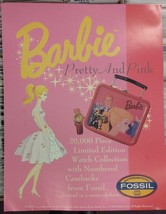 1993 Barbie Pretty & Pink Fossil Watch Poster Advertising Promotional Po... - $19.99