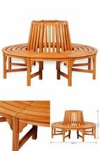 Wooden Round Tree Bench Garden Outdoor Patio Park Seating Furniture Deco... - $522.29