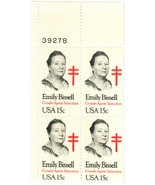 1980 Emily Bissell Plate Block of 4 US Postage Stamps Catalog Number 182... - $5.95