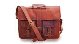 "New 15"" Soft Rustic Leather Long Loopy Shoulder Messenger Briefcase Lapt... - $64.47"