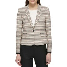 Tommy Hilfiger Womens Beige Contrast Trim One-Button Blazer Jacket 4, 10... - $41.65