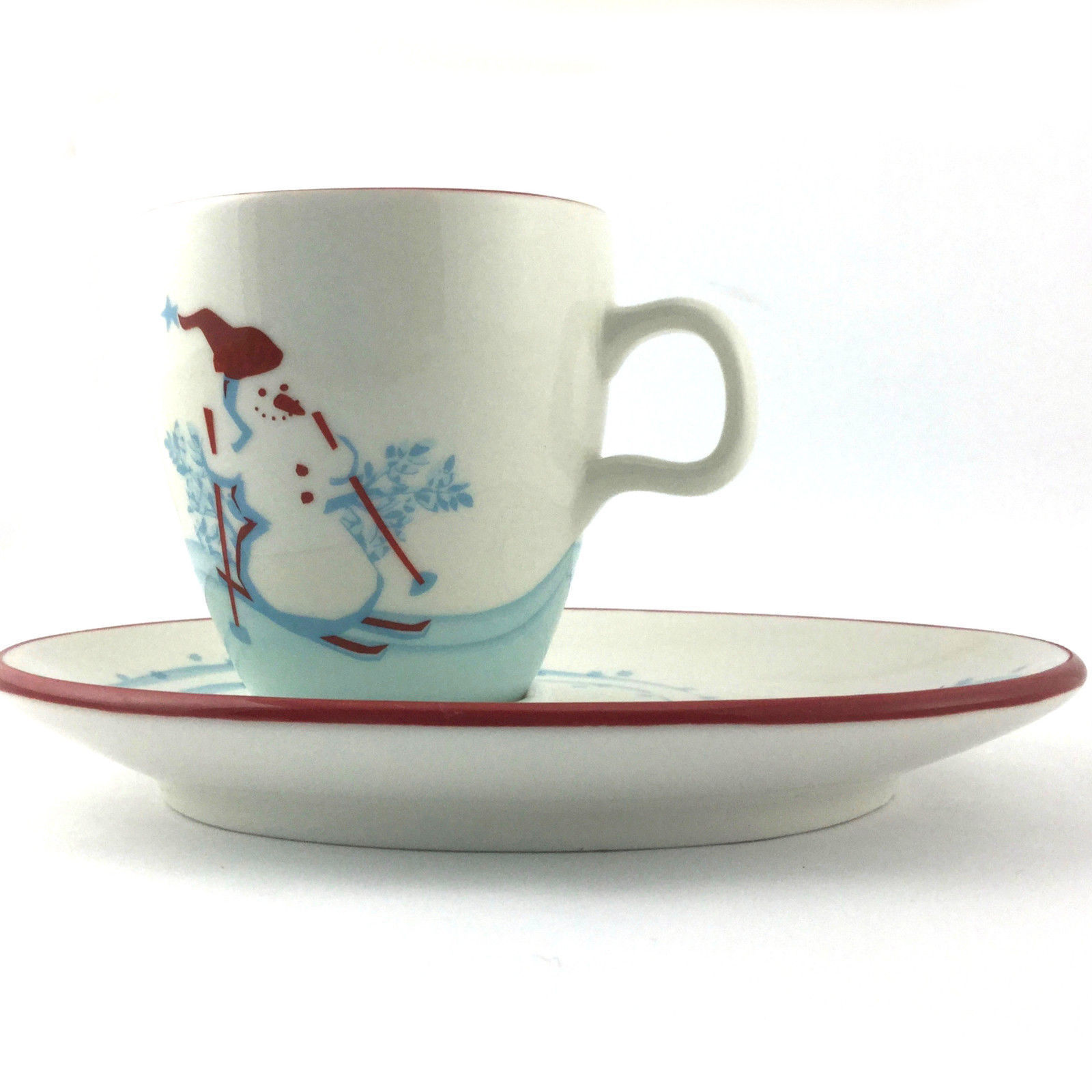 Starbucks Collectible 2007 Holiday Mug With Snack Plate Saucer Snowman Penguin