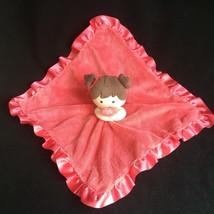 Lovey Carters Girl Brown Hair Rattle Head Security Blanket NuNu Pink Sat... - $25.12 CAD