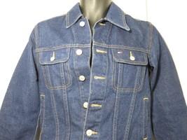 Vintage 90s Small Tommy Hilfiger Dark Wash Denim Jean Jacket - $37.09