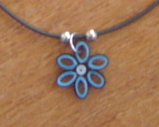 Paper Quilled BluemFlower Necklace and Earring Set, Handcrafted