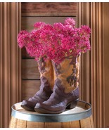 Cowboy Boot Planter With Fancy Stitching and Worn Look Western Decor - $29.05