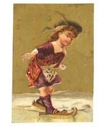 Antique Victorian trade card Demorest magazine girl ice skates - $9.00