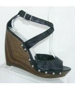 Jessica Simpson 'Kory' black snake print studded sandal platform wedges 9B - $33.30