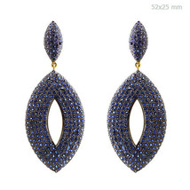 14k Gold 11.32Ct Blue Sapphire Gemstone Pave Dangle Earrings 925 Sterlin... - $1,257.30