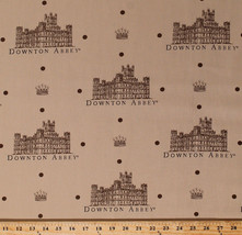 Downton Abbey Castles Dots Crowns Beige Cotton Fabric Print by the Yard ... - $11.95