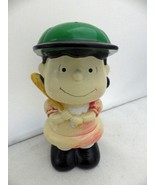 """Peanuts - Lucy at Bat with green cap - coin bank figurine -7 3/4"""" - EUC - $22.28"""