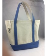Lands End Canvas Natural & Blue Boat Bag Tote Carry-All Medium Insert Po... - $23.36