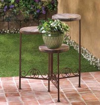 "Rustic Triple Platform Potted Plant Stand 23"" high - $40.75"