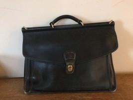 Vintage COACH Beekman black leather briefcase messenger tote satchel lap... - $34.58