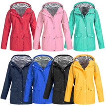 Womens Rain Hooded Raincoat Ladies Waterproof Outdoor Coat Windproof Jac... - $26.80