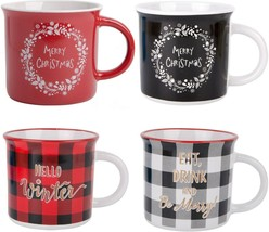 4 ASSORTED 16 OZ CAMPER SHAPE CHRISTMAS MUG WITH SENTIMENTS BY HOME ESSE... - ₹3,517.26 INR