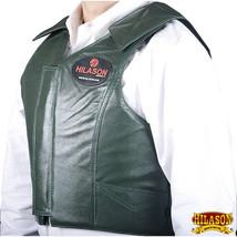 Hilason Bull Riding Pro Rodeo Leather Vest Gear Equipment Green U-01ND - $148.95