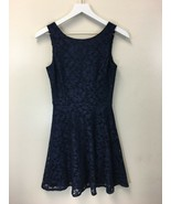 Speechless Juniors' Sleeveless Floral Lace A-Line Dress Midnight Blue Si... - $13.36