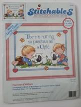 "Stitchables Precious Children 1992 Cross Stitch Kit 10"" x 8"" Dimensions NOS - $14.00"
