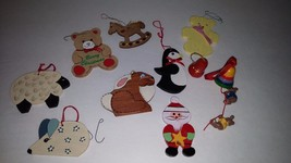 Vintage Lot 9 Wooden Christmas Tree Holiday ornaments, bears, Bells, Mic... - $14.03