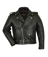Men's Classic Plain Side Police Style M/C Biker Rider Motorcycle Jackets... - $129.95+